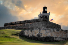 Sunset View Of Ancient Fort San Felipe Del Morro In San Juan, Puerto Rico