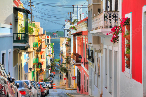 Canvas Prints American Famous Place Beautiful typical traditional vibrant street in San Juan, Puerto Rico