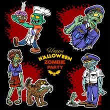 Zombie Comic Set - Cartoon Zom...