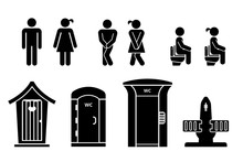 Set Of Toilet Signs. WC Icons....