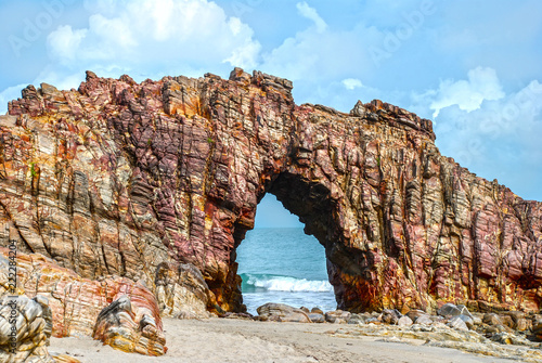 Poster Centraal-Amerika Landen Pedra Furada (Holed Stone) at Jericoacoara beach - Ceara, Brazil