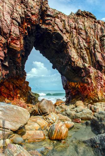 Spoed Foto op Canvas Centraal-Amerika Landen Pedra Furada (Holed Stone) at Jericoacoara beach - Ceara, Brazil