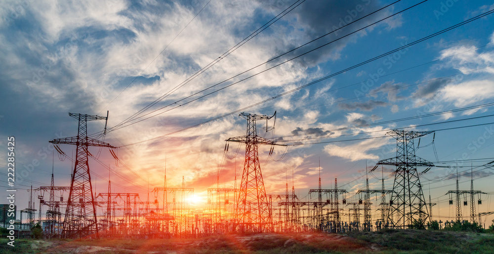 Fototapeta distribution electric substation with power lines and transformers