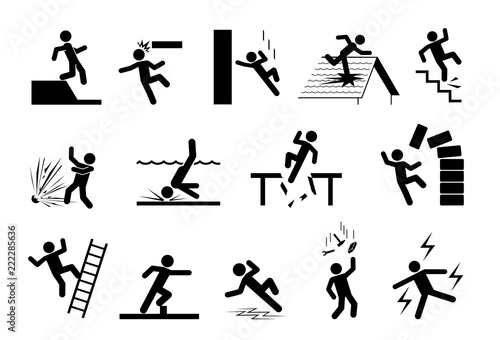 Slippery Icons Set Of Safety Signs Caution Signs Collection Of
