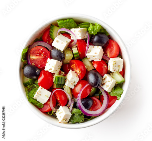 Carta da parati Greek salad in take away bowl on white background; from above
