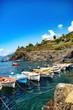 Manarola, Ligurie, Italie - vue sur un petit bateau dans le port