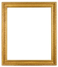 Vintage Ornate Gold Gilt Frame Isolated On White Background