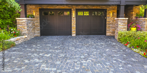 Brick stone driveway double garage doors pano Wallpaper Mural