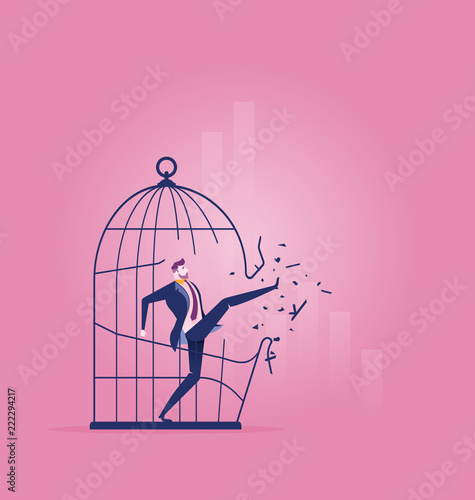 Forbidden and freedom, businessman breaking out the large birdcage - Business co Canvas Print