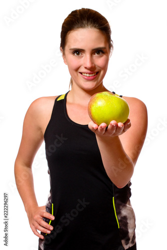 Fotografiet  Sportlerin mit Apfel