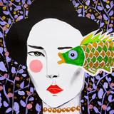malowana piękna orientalna kobieta z rybą - 222296636
