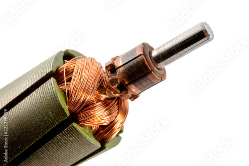 Photo dc motor armature and commutator close-up