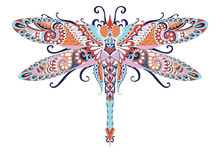 Colorful Zentangle Dragonfly For Coloring Book Cover And Other Design Element. Vector Illlustration