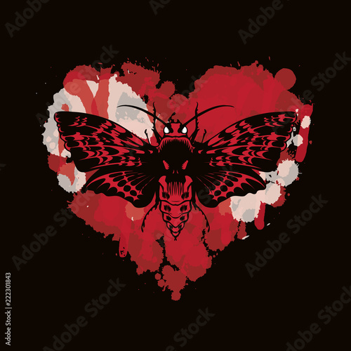Printed kitchen splashbacks Watercolor skull Vector graphic illustration of a butterfly Dead head with a skull-shaped pattern on the thorax. Black moth on abstract red heart. T-shirt design template