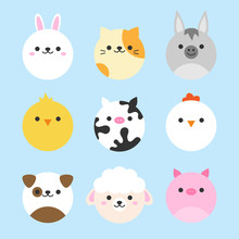 Cute Vector Icon Set Of Domest...