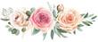Leinwandbild Motiv Watercolor floral bouquet composition with roses and eucalyptus