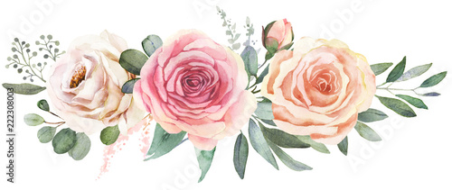 Valokuva  Watercolor floral bouquet composition with roses and eucalyptus