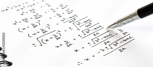 Leinwand Poster Handwriting of mathematics quadratic equation formula on examination, practice, quiz or test in maths class