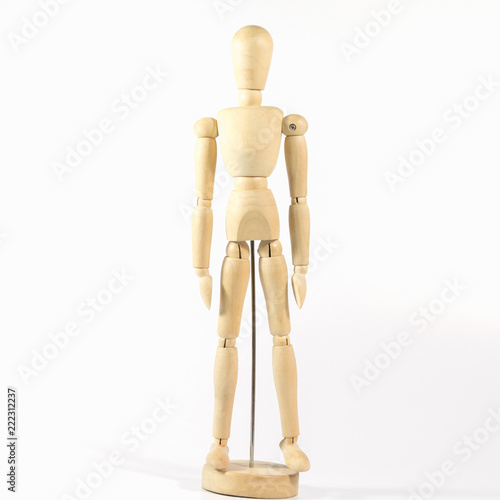Fotografie, Obraz Robot wood Toys Yellow and white background