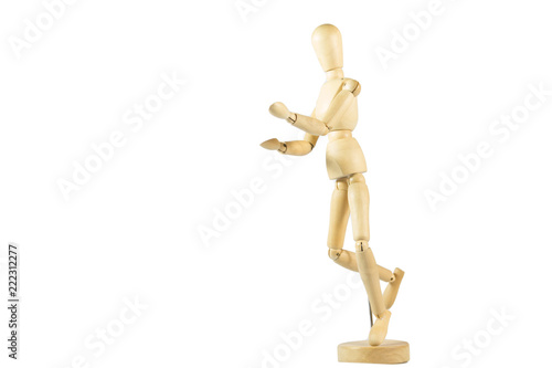 Obraz na plátně Robot wood Toys Yellow and white background