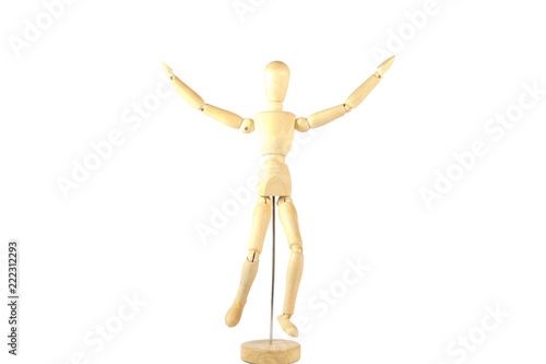 Photo  Robot wood Toys Yellow and white background