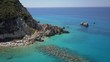 Beach and bay in Mediterranean sea. beautiful colors. Crystal clear turquoise