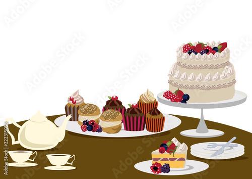 Fotografía  バースデーケーキ。クリスマスケーキ。ティータイム。