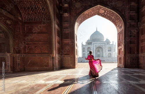 Poster Chocoladebruin Woman in red saree/sari in the Taj Mahal, Agra, Uttar Pradesh, India