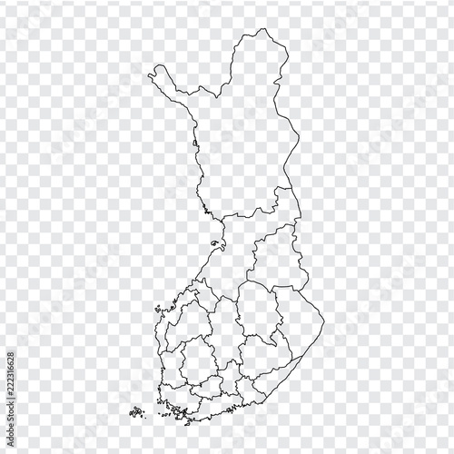 Blank map Finland. High quality map of  Finland with provinces on transparent background for your web site design, logo, app, UI. Stock vector. Vector illustration EPS10.