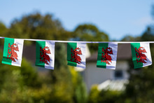 Welsh Flag Bunting Flying