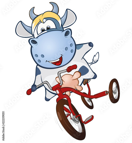 Deurstickers Babykamer Illustration of a Cute Cow. Cartoon Character