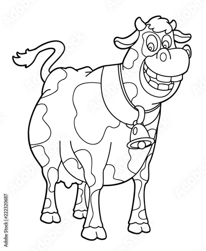 Tuinposter Doe het zelf cartoon scene with happy cow standing and smiling on white background - illustration for children