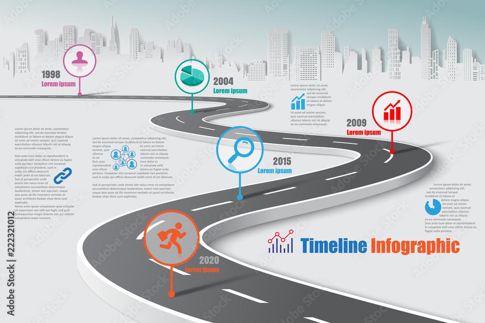 Fototapeta Business road map timeline infographic city designed for abstract background template milestone element modern diagram process technology digital marketing data presentation chart Vector illustration