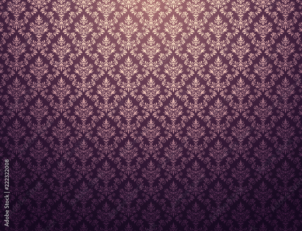 Fototapety, obrazy: Purple wallpaper with gold damask pattern