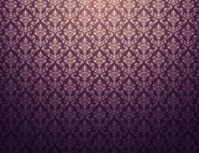 Purple Wallpaper With Gold Dam...
