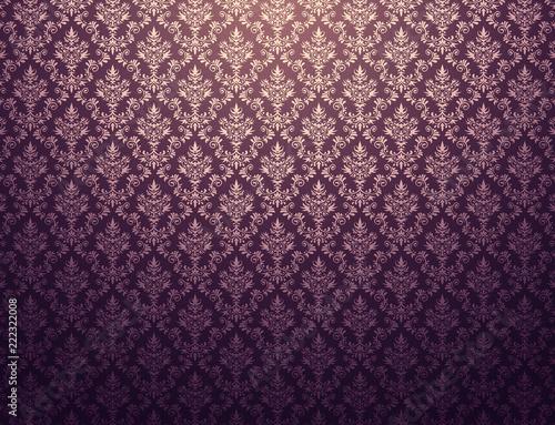 Slika na platnu Purple wallpaper with gold damask pattern