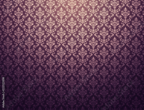 Fotografija Purple wallpaper with gold damask pattern