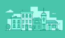 Vector Monochrome Flat Illustration Of Town Buildings