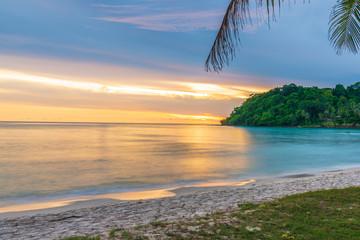 Fototapeta Sunset at beach sea sky clouds twilight time