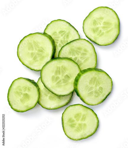 Photo  Fresh cucumber slices, isolated on white background