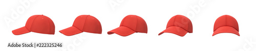 Valokuva  3d rendering of five red baseball caps shown in one line from side to front view on a white background