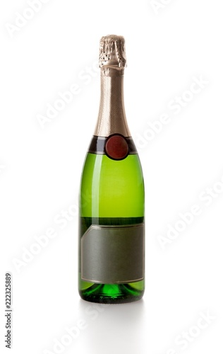 Champagne bottle with a blank label
