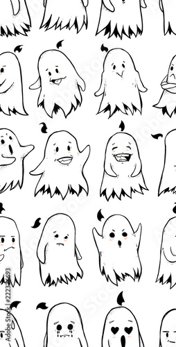 Seamless texture with Little funny ghost character  Repeating