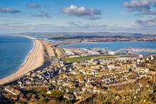 Seascape Of Chesil Beach And Portland Harbour Looking Towards Weymouth, Dorset