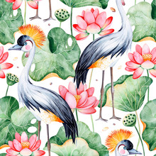Lotus Watercolor Texture.Seamless Pattern On White Background With Water Lilies And Black Crowned Crane.Perfect For Your Project,wedding,packaging, Cover Design,packaging,print Etc