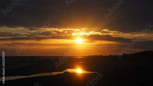 Spoed Foto op Canvas Chocoladebruin beautiful swedish sunset at the ocean
