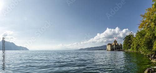 Fotobehang Europese Plekken Genfer See mit Schloß Chillon