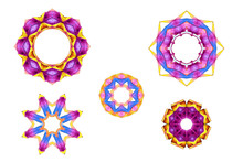 Set Of Five Multi-colored Geom...
