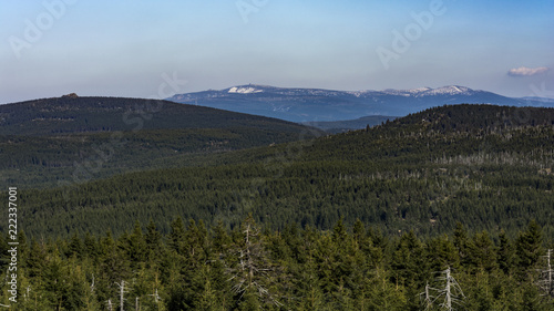 Foto op Canvas Blauwe hemel The rocky mountains landscape. View from the rock hill to landscape.