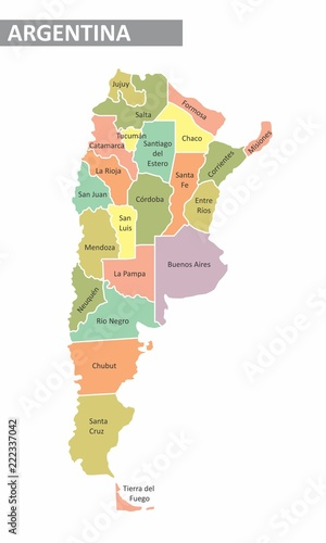 Argentina colorful map Tablou Canvas